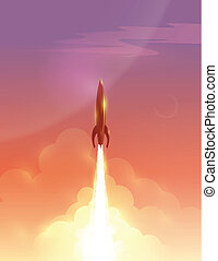 Vector illustration of retro rocket over beautiful sky