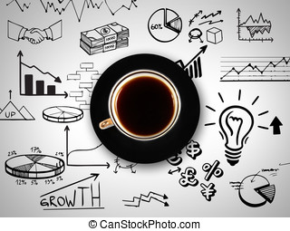 cup of coffee on background of busi