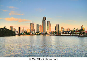 Surfers Paradise Skyline At Sunset - View of Surfers...