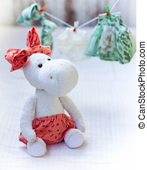 White hippo toy with textile and sewing accessory - White...