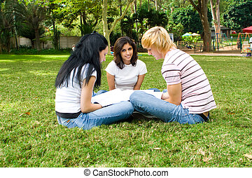 studygroup - students in a circle outside studying