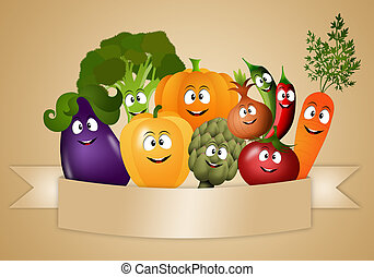 Vegan food with funny vegetables - illustration of Vegan...