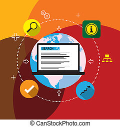 flat design vector seo or search engine optimization. This...