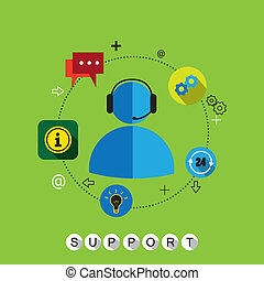 flat design vector of customer support and services or...