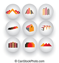 skyscrapers, office buildings, commercial architecture - vector