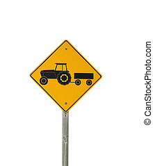 Tractor trailer sign - Yellow tractor trailer caution sign