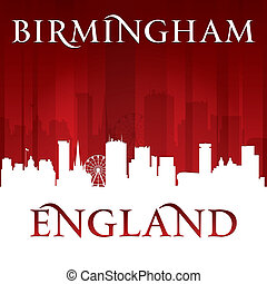 Birmingham England city skyline silhouette red background -...
