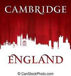 Cambridge, inglaterra, ciudad, contorno, silueta, rojo,...