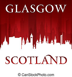 Glasgow Scotland city skyline silhouette red background -...
