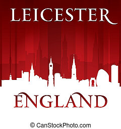 Leicester England city skyline silhouette red background