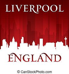 Liverpool England city skyline silhouette red background