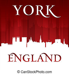 York England city skyline silhouette red background