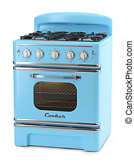 Blue retro stove isolated on white background