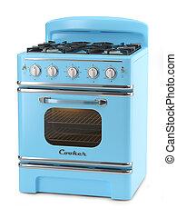 Blue retro stove isolated on white background