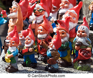 Crowd of dwarfs - Crowd of colorful dwarf figures