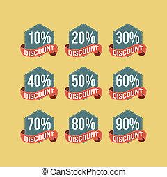 Flat Vintage Discount Badges