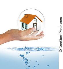 escudo, protegendo, casa, inundação