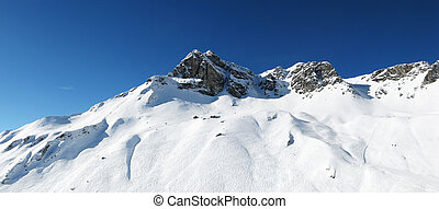 Panoramic alpine view - Panoramic view of mountain range...