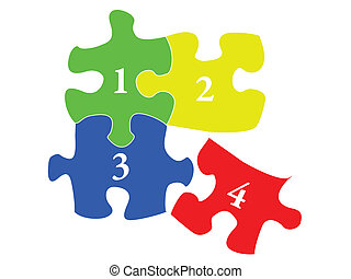 puzzles one two three four green yellow blue red