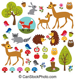 Woodland Clipart - A collection of woodland animals...