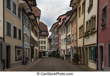 Aarau, Switzerland - street with historical houses in Aarau...