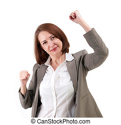 Winner business woman with her hands raised