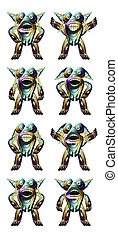 Futuristic Alien Character Full Body Expressions - Eight...
