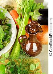 Olive Oil Pourer With Vegetables