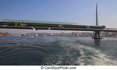 Navigating golden horn - Rear view of boat while navigating...