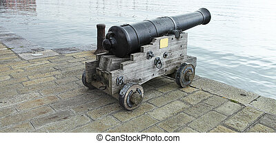 old cannon - old medieval cannon in la spezia harbour
