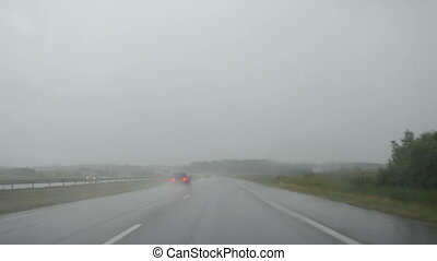 auto drive heavy rain - Poor visibility from front...