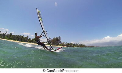 Windsurfing - Maui, Hawaii, USA – June 15 2014: Professional...
