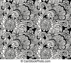 Vector Seamless Doodle Floral Pattern, fully editable eps 10...