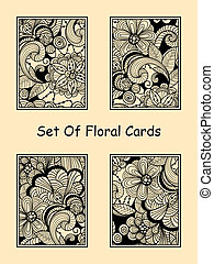 Vector Seamless Doodle Floral Cards, fully editable eps 10...