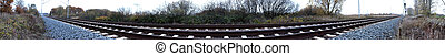 Railtrack Panorama -   Panorama of railtracks in Germany.