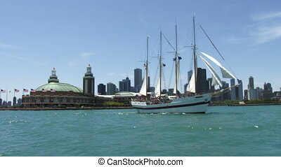 Vessel navigatin in Chicago - Old tourists vessel navigating...