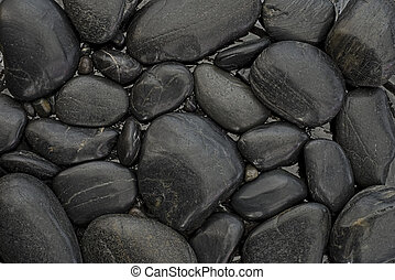 black pebble - background of many black pebble