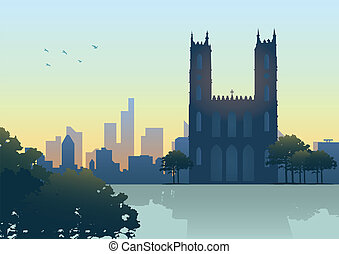 Montreal Skyline - Silhouette illustration of Montreal...