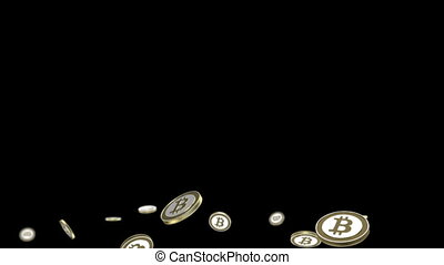 Bitcoin animation - cryptography digital currency coin -...
