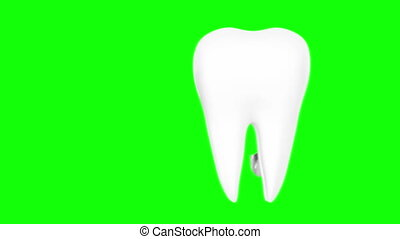 Tooth with metal shield on white background (Protection...