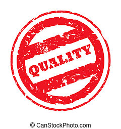 Quality Stamp - Red used quality stamp, isolated on white...