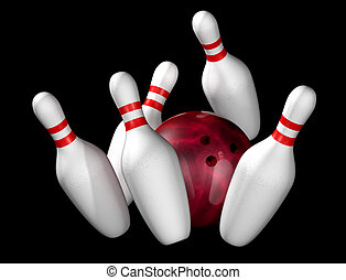 Ten pin bowling - Illustration of bowling ball and pins...