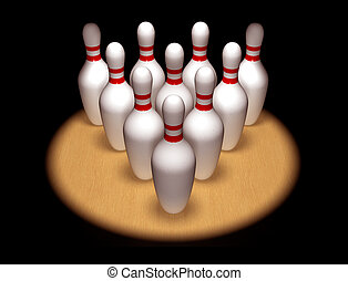 Ten pins standing to attention - Illustration of ten bowling...