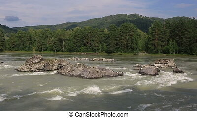 Beautiful summer mountain river - Beautiful summer landscape...