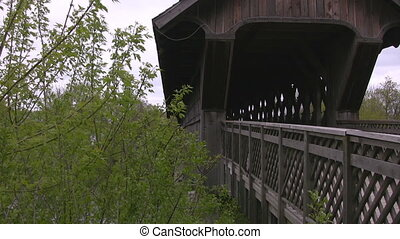 Covered bridge pan - A pan of the covered walking bridge in...