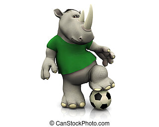 Cartoon rhino posing with soccer ball. - Cartoon rhino...