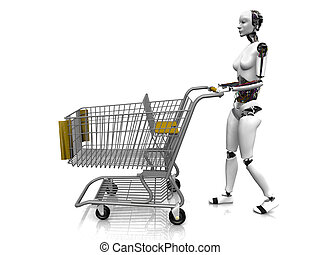 Female robot with shopping cart - A female robot pushing a...