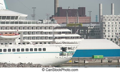 A huge cruise ship on the harbour Helsinki Finland - A huge...