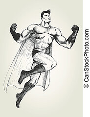 Superhero - Sketch illustration of a superhero in flying...