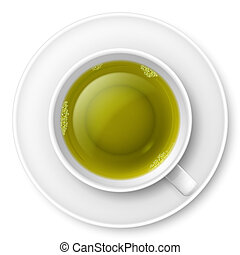 Cup of green tea over white background